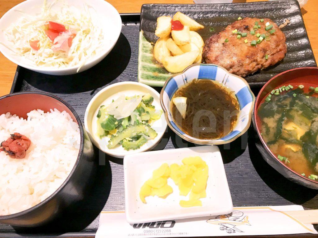 宮古島空港のレストラン「のむら」で宮古牛ハンバーグ定食