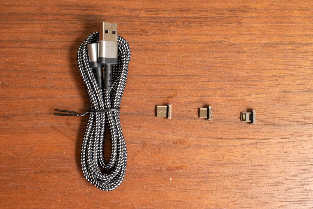 マグネット式充電器3点セット(Lightning,USB-C,microUSB))