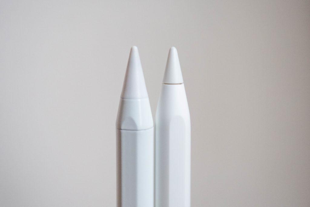 Apple PencilとHommeiのタッチペンのペン先比較